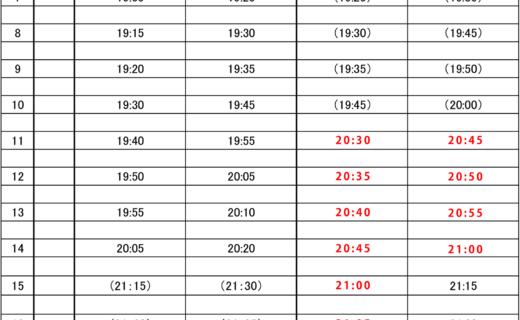 シャトルバス時刻表